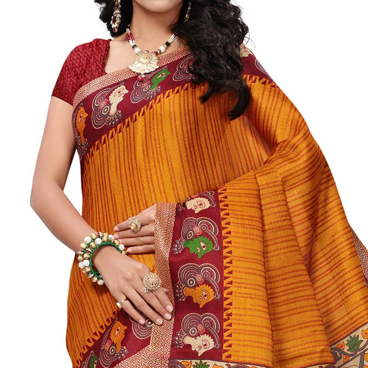 Pretty Yellow Colored Festive Wear Printed Khadi Silk Saree