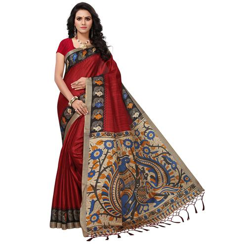 Irresistible Maroon Colored Festive Wear Printed Khadi Silk Saree