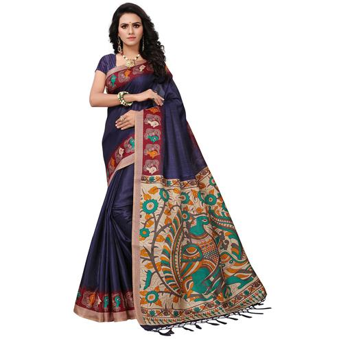 Surpassing Dark Purple Colored Festive Wear Printed Khadi Silk Saree