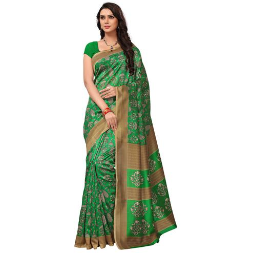Majestic Green Colored Casual Printed Mysore Art Silk Saree