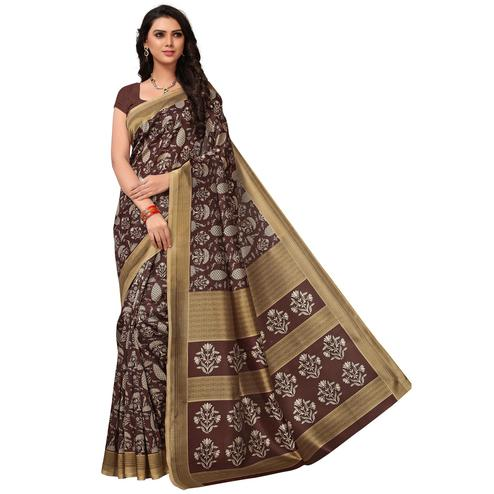 Blooming Brown Colored Casual Printed Mysore Art Silk Saree