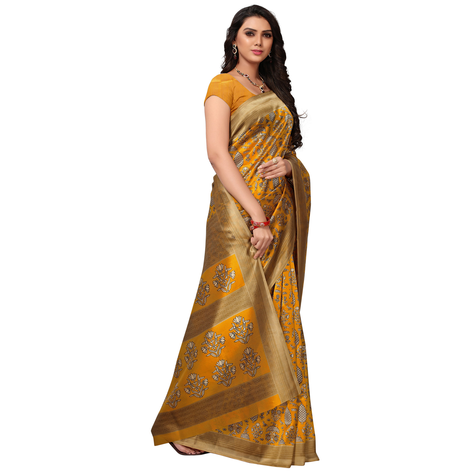 Gorgeous Yellow Colored Casual Printed Mysore Art Silk Saree