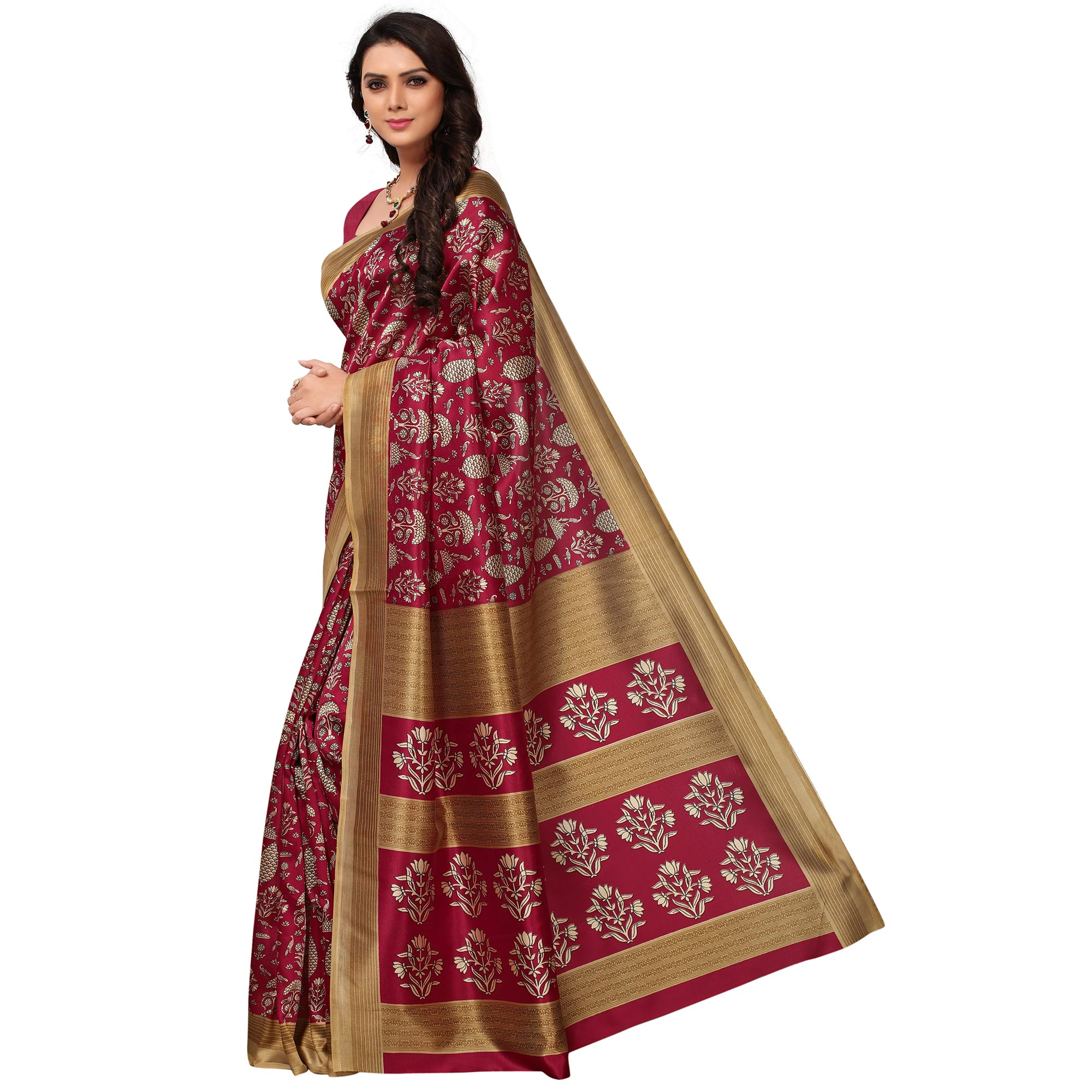 Lovely Maroon Colored Casual Printed Mysore Art Silk Saree