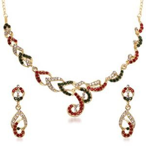 Red & Green Austrian Stone Gold Plated Necklace Set