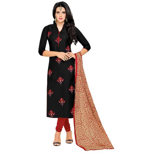 Demanding Black Colored Casual Embroidered Chanderi Silk Dress Material