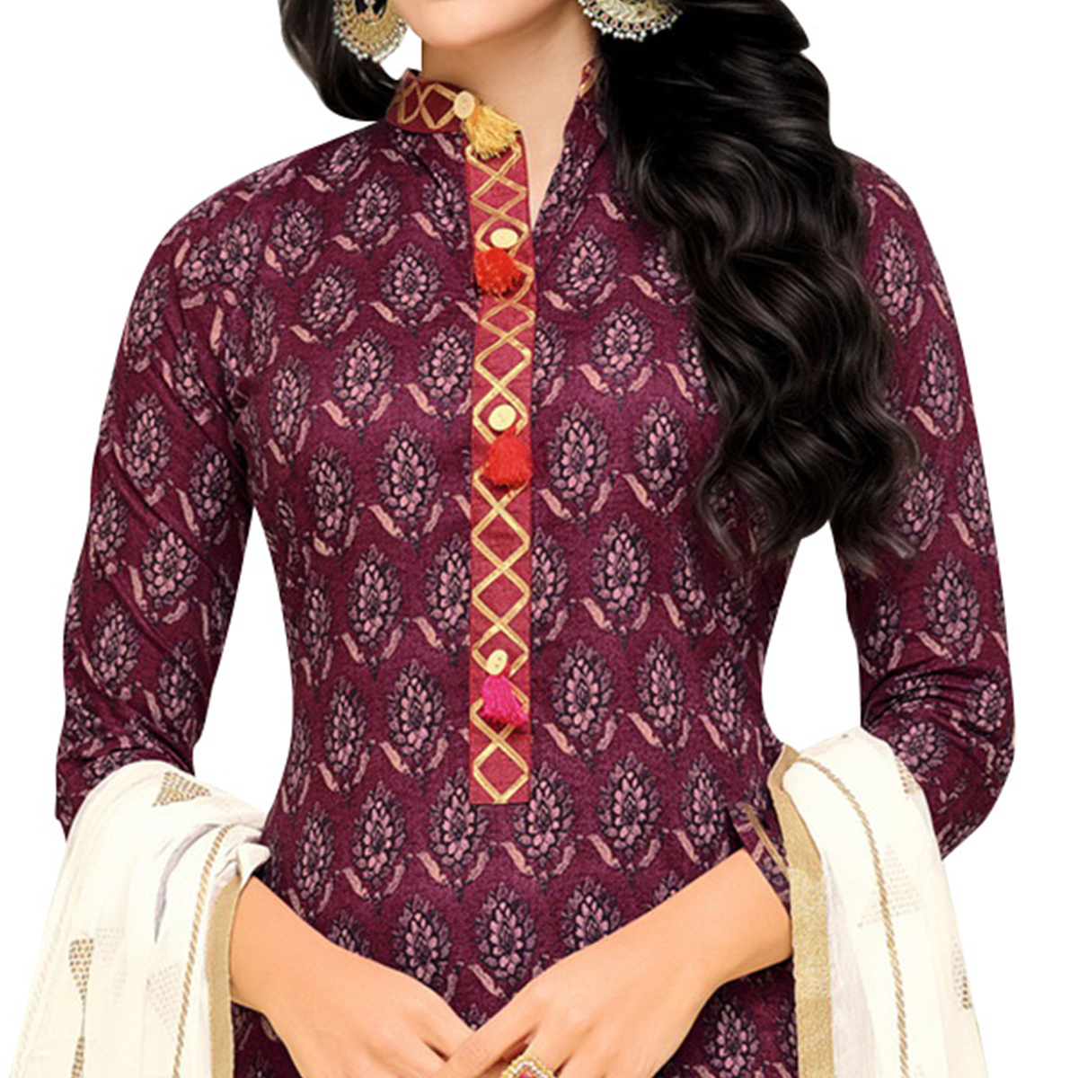 Impressive Wine Colored Casual Printed Cotton Dress Material