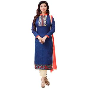 Desiring Blue Colored Casual Printed Cotton Dress Material