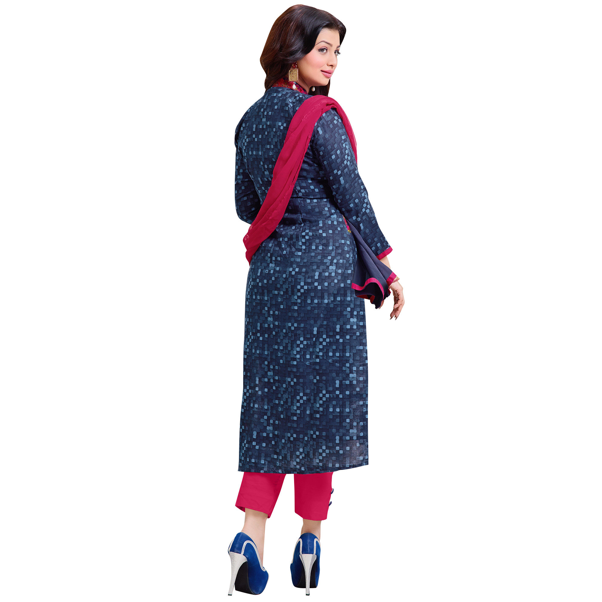 Eye-Catching Blue Colored Casual Embroidered Cotton Dress Material