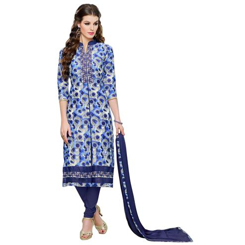 Stylish Blue Colored Casual Printed Cotton Dress Material