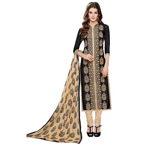 Classy Black Colored Casual Printed Chanderi Silk Dress Material