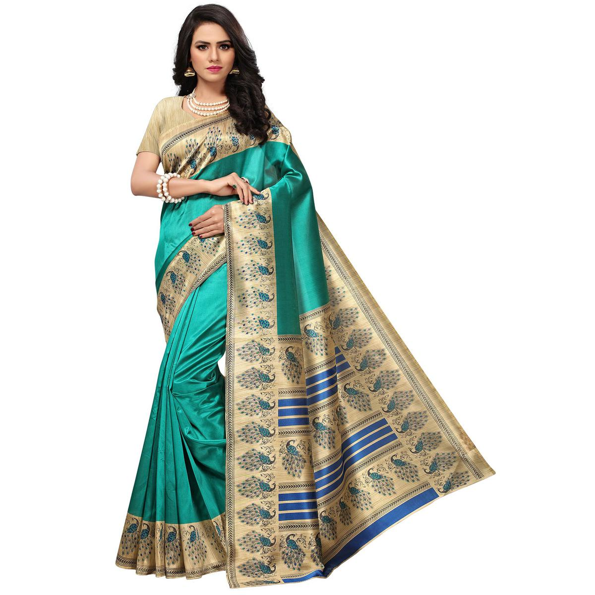 Amazing Turquoise Green Colored Festive Wear Printed Mysore Art Silk Saree