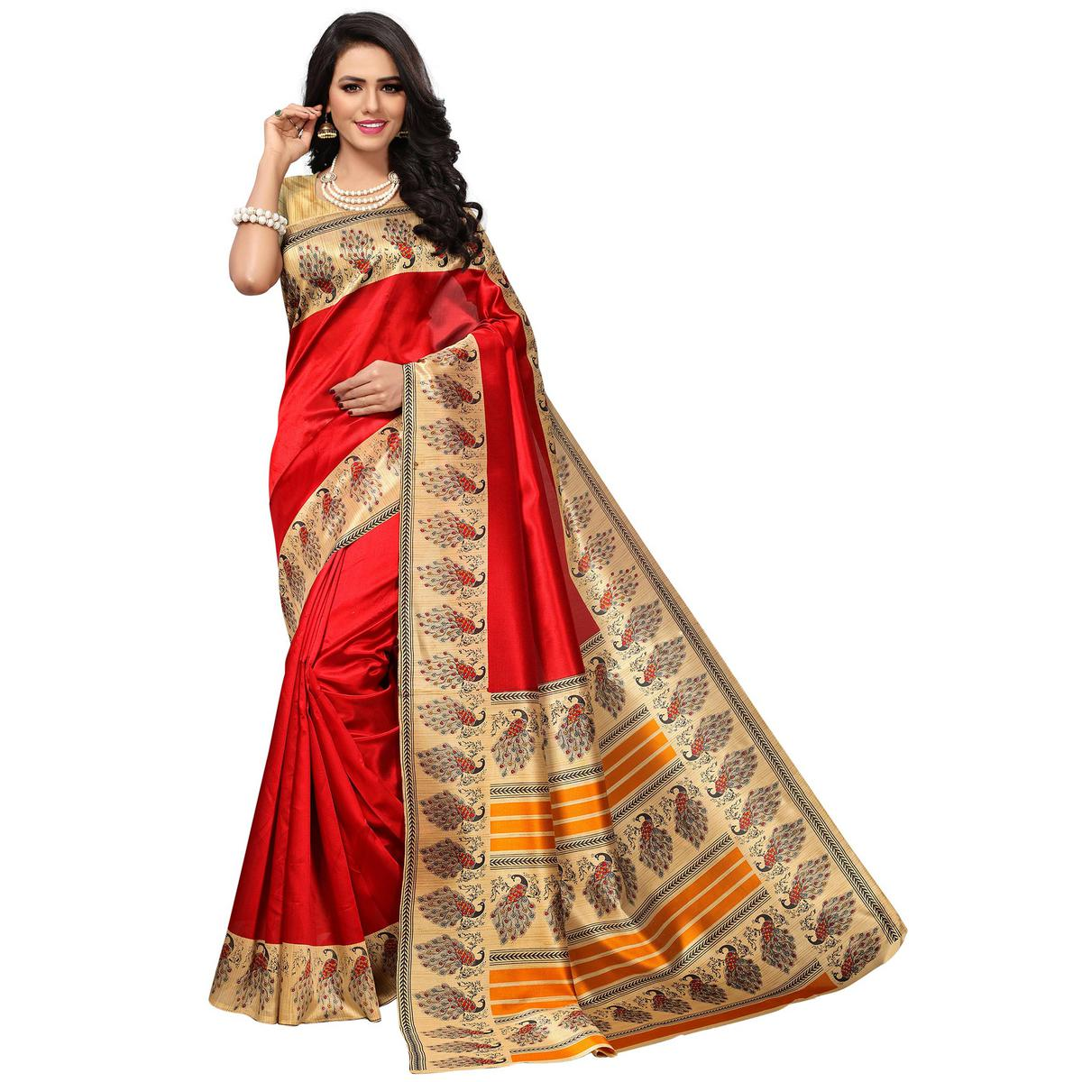 Traditional Red Colored Festive Wear Printed Mysore Art Silk Saree