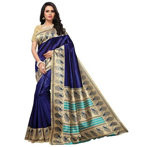 Jazzy Navy Blue Colored Festive Wear Printed Mysore Art Silk Saree
