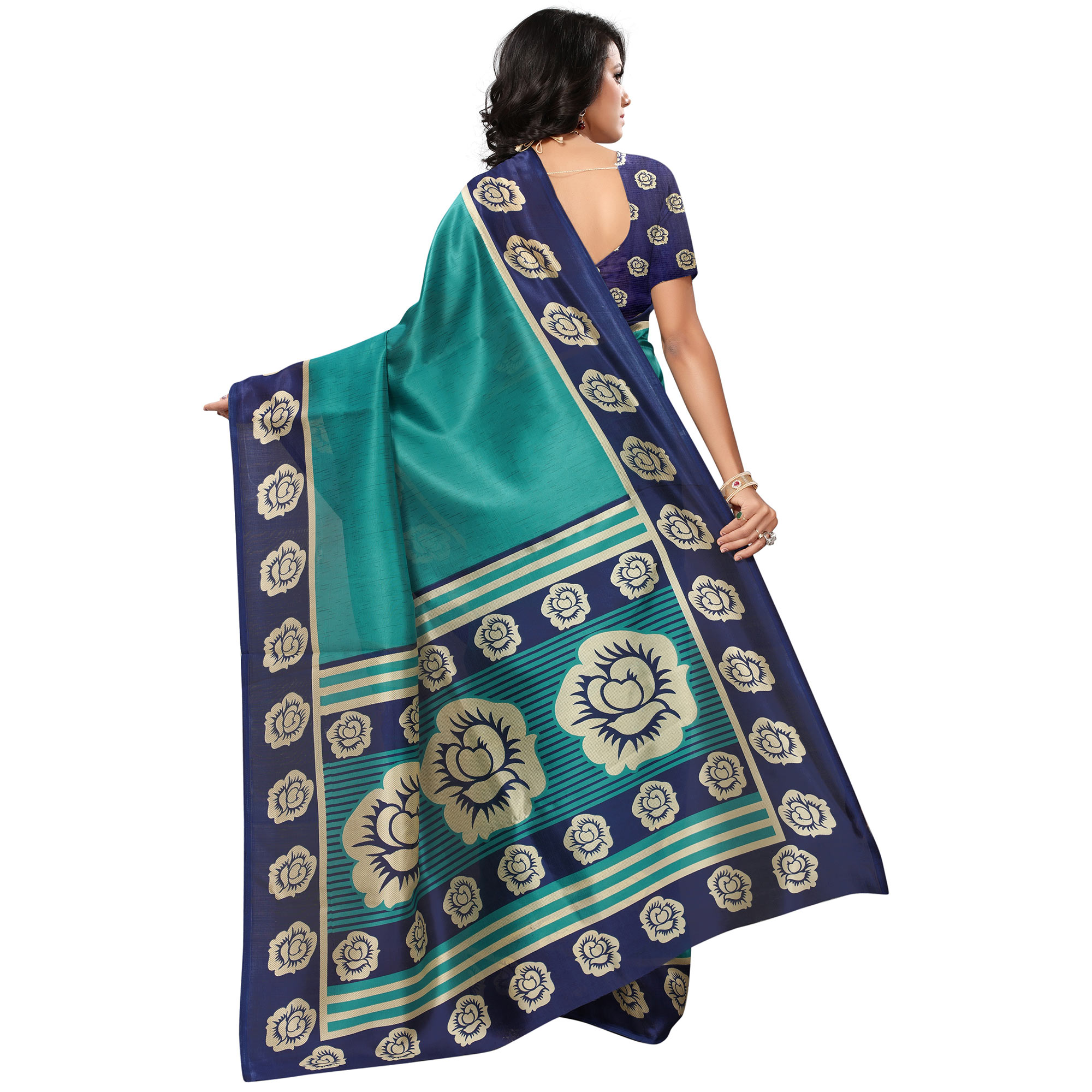 Mesmerising Turquoise Green Colored Casual Printed Mysore Art Silk Saree