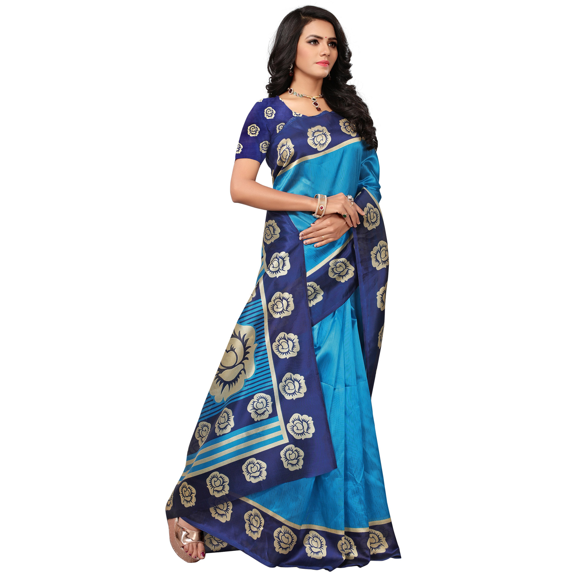 Beautiful Sky Blue Colored Casual Printed Mysore Art Silk Saree