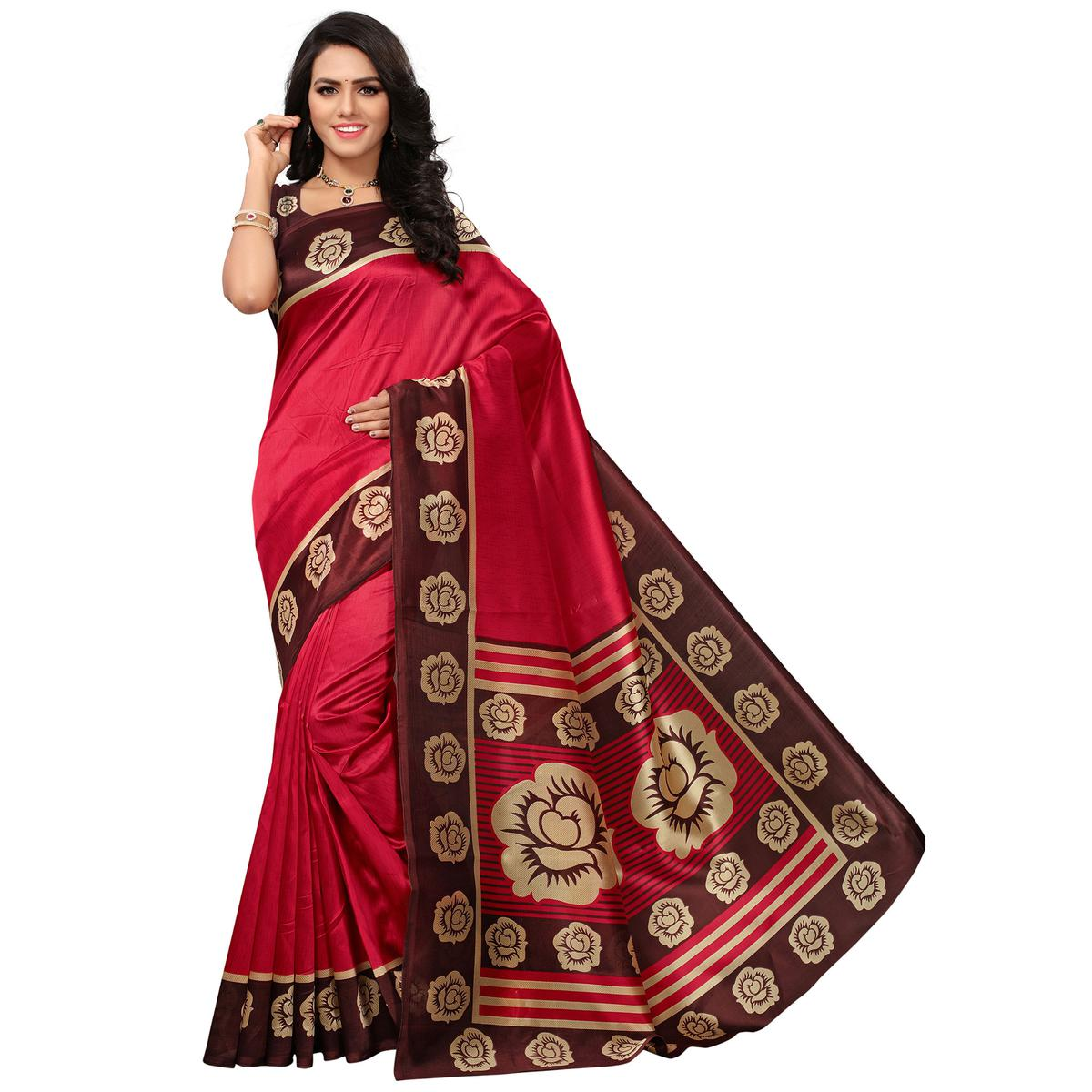 Unique Red Colored Casual Printed Mysore Art Silk Saree