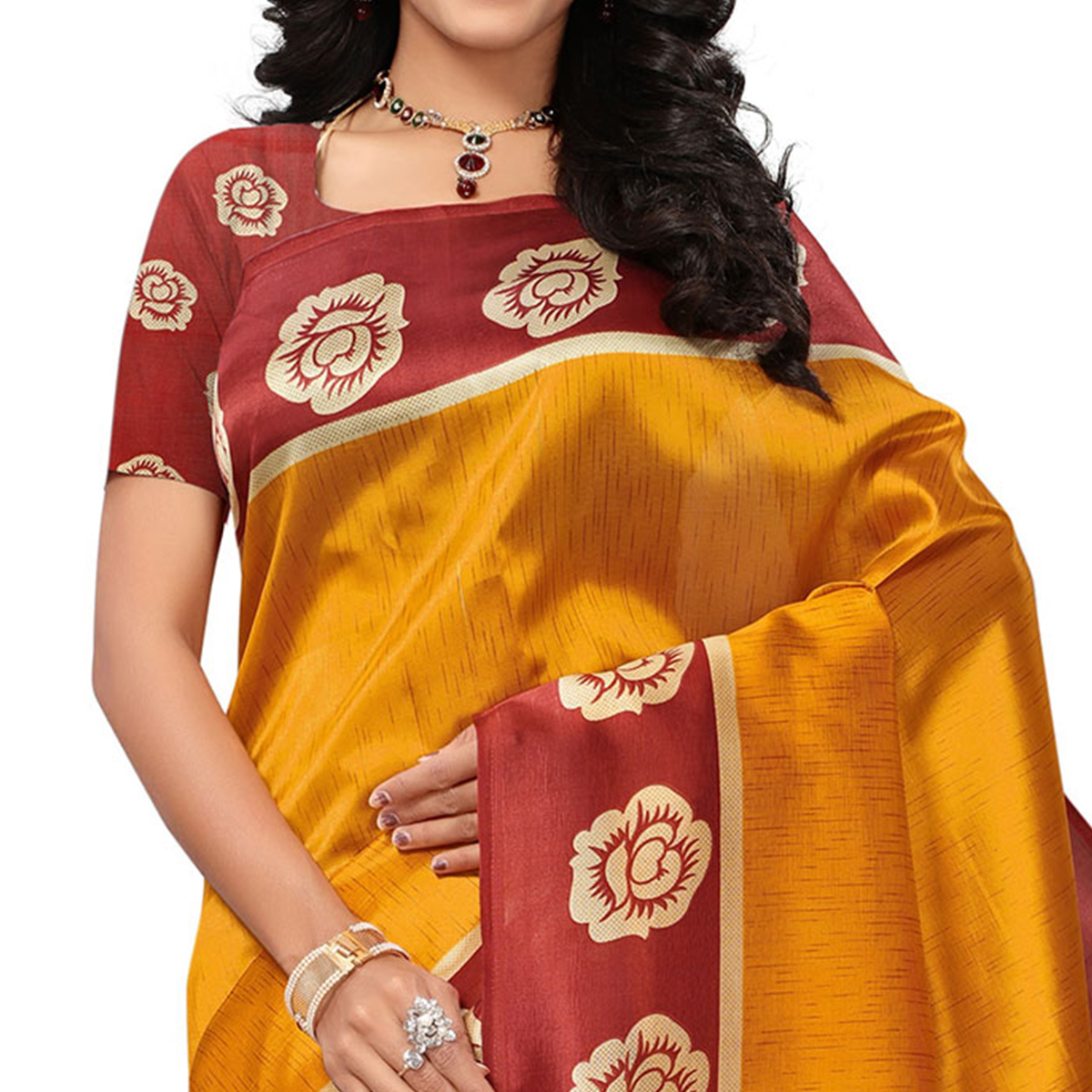 Impressive Yellow Colored Casual Printed Mysore Art Silk Saree