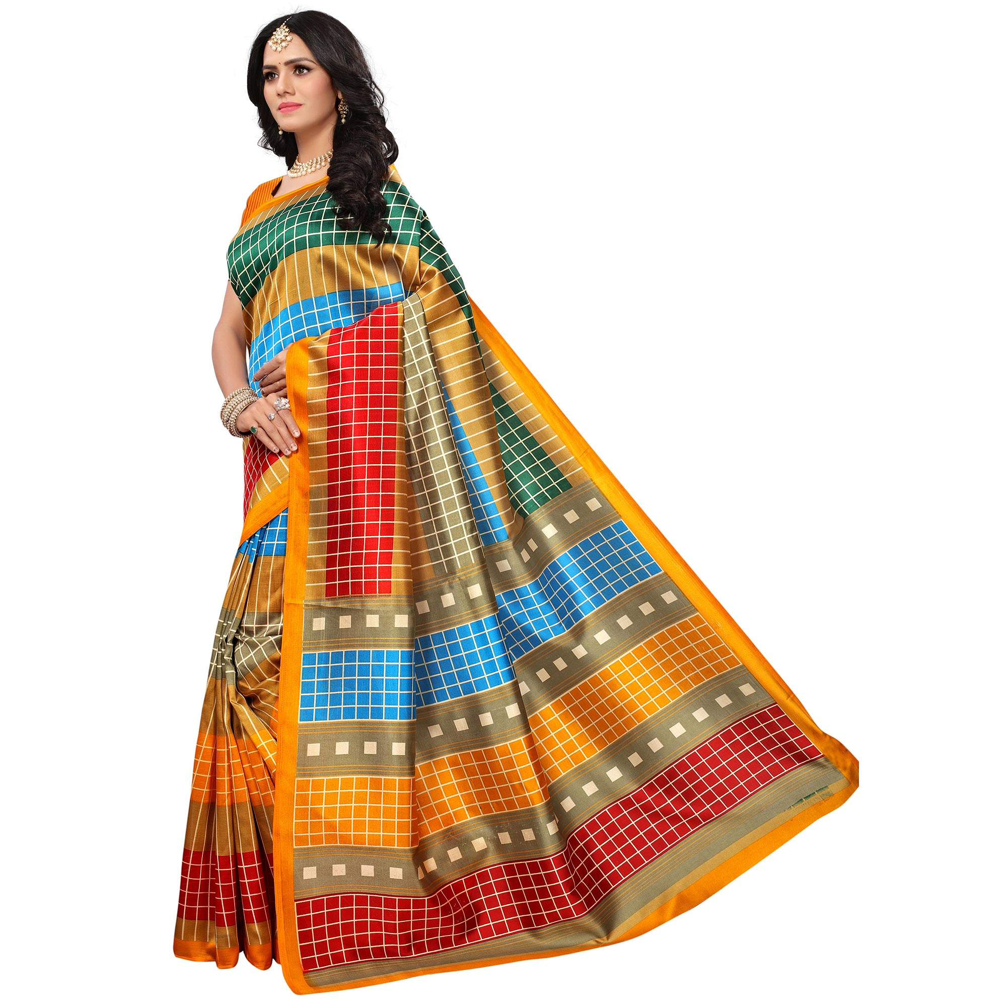 Adorning Yellow-Multi Colored Casual Printed Mysore Art Silk Saree