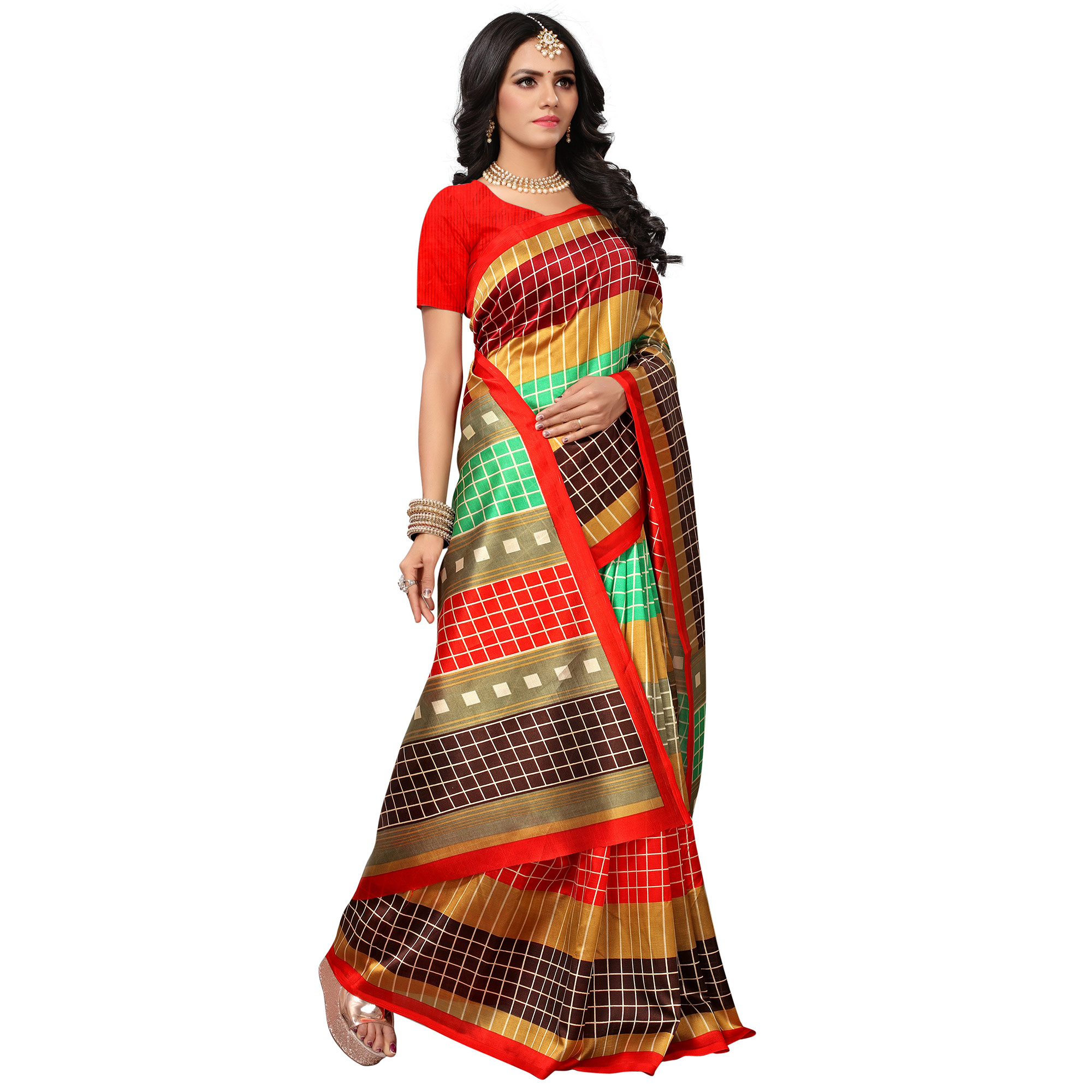 Gorgeous Red-Multi Colored Casual Printed Mysore Art Silk Saree
