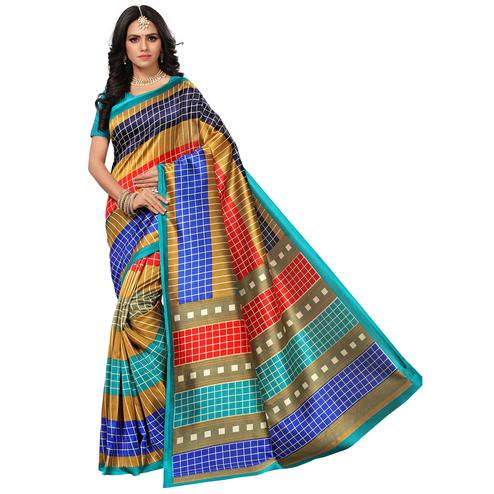 Flamboyant Light Blue-Multi Colored Casual Printed Mysore Art Silk Saree