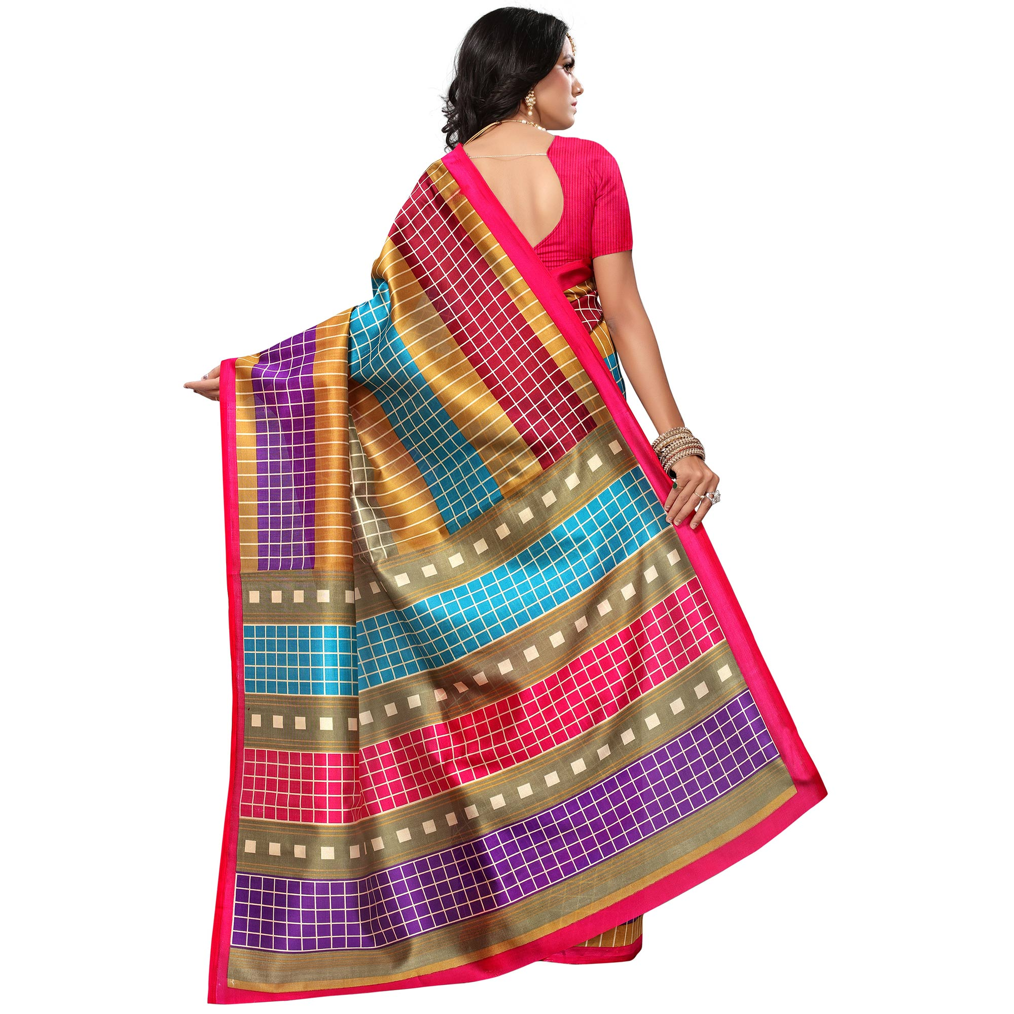 Charming Pink-Multi Colored Casual Printed Mysore Art Silk Saree