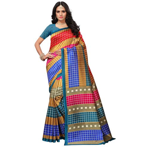 Pretty Blue-Multi Colored Casual Printed Mysore Art Silk Saree