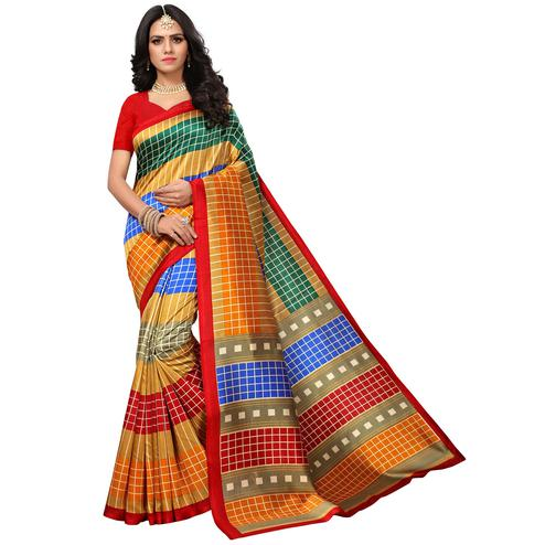 Blooming Red-Multi Colored Casual Printed Mysore Art Silk Saree