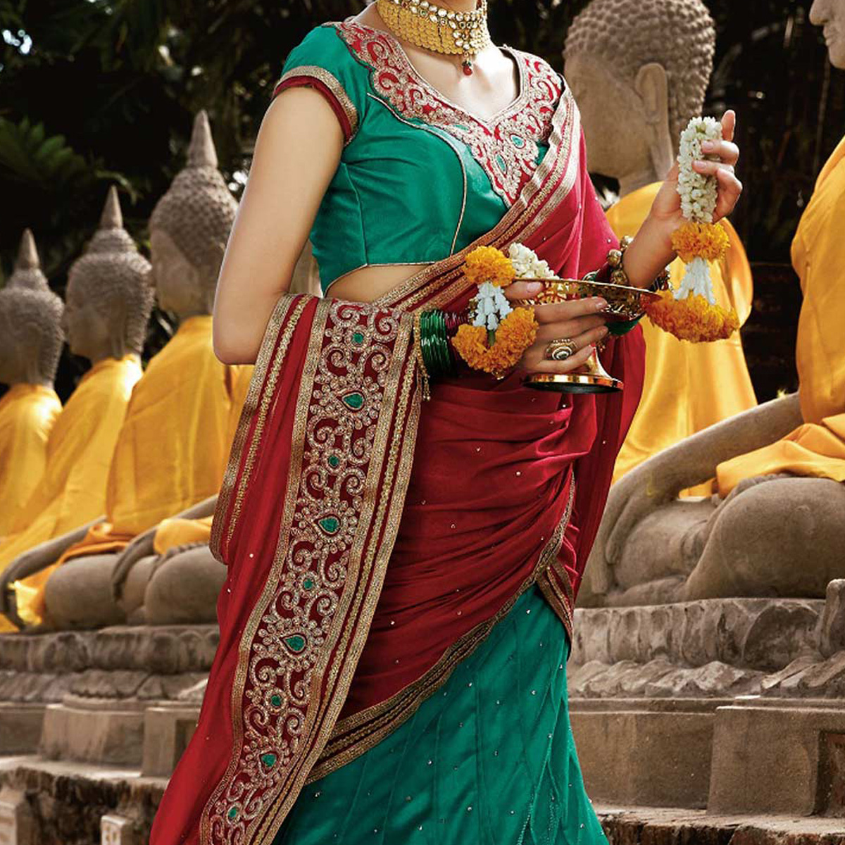 Rama Green Embroidered Lehenga Saree