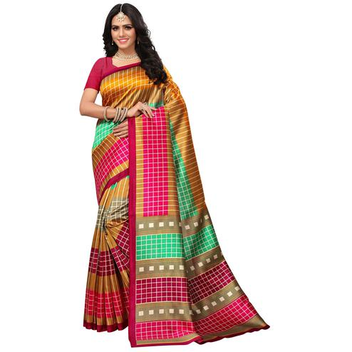 Demanding Dark Pink-Multi Colored Casual Printed Mysore Art Silk Saree
