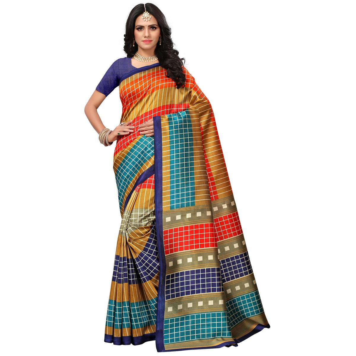 Attractive Navy Blue-Multi Colored Casual Printed Mysore Art Silk Saree