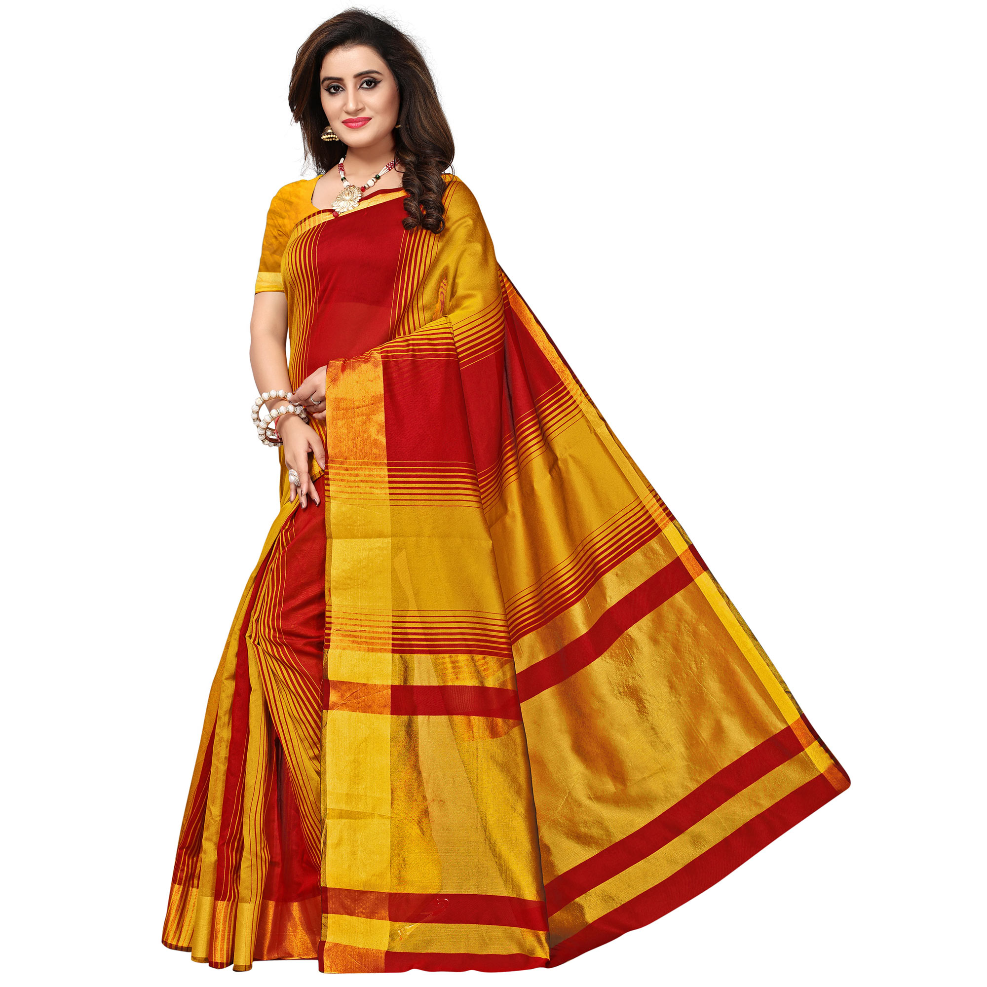 Adorning Yellow-Red Colored Casual Printed Cotton Silk Saree