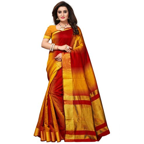 ea9004d8803 Adorning Yellow-Red Colored Casual Printed Cotton Silk Saree