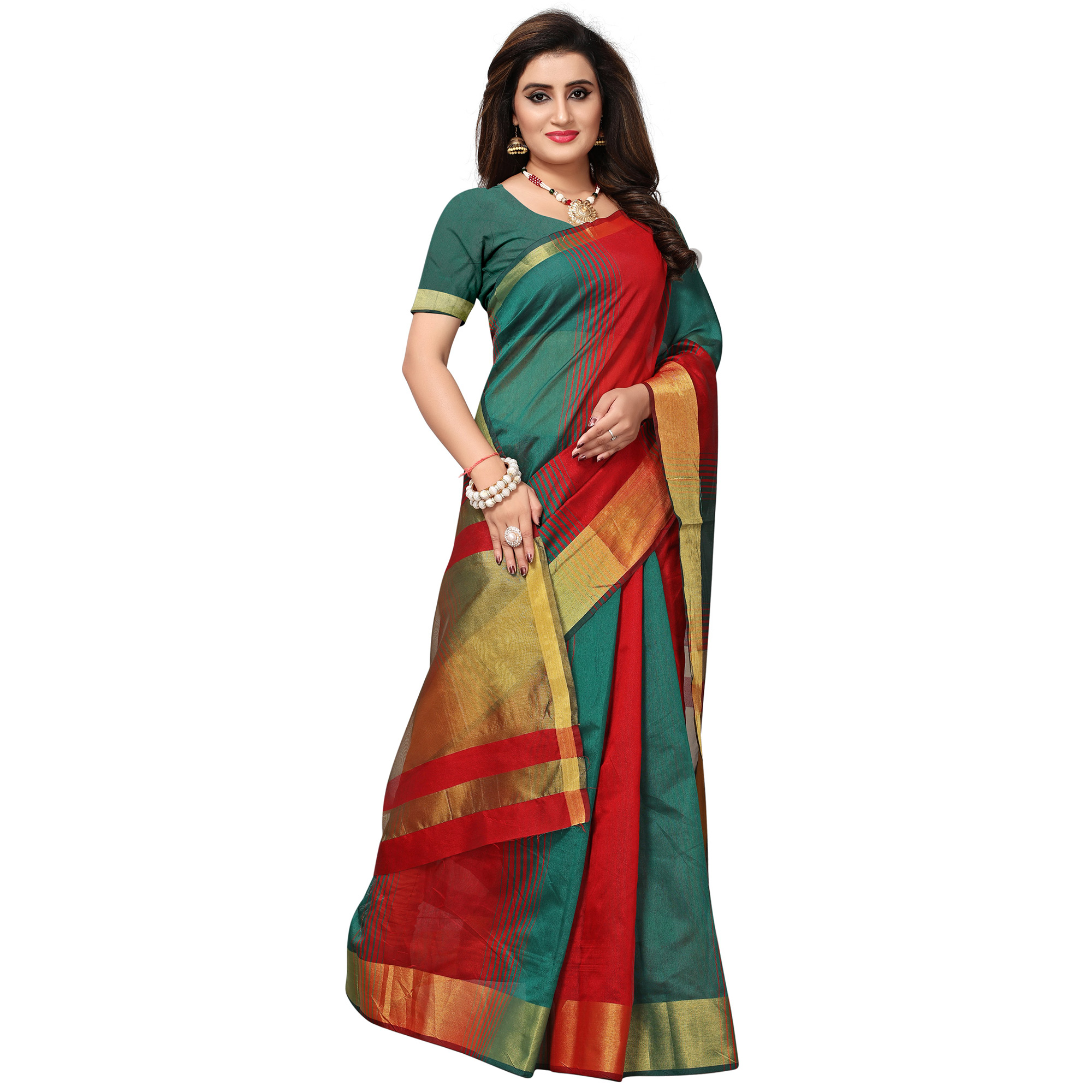 Beautiful Red-Teal Blue Colored Casual Printed Cotton Silk Saree