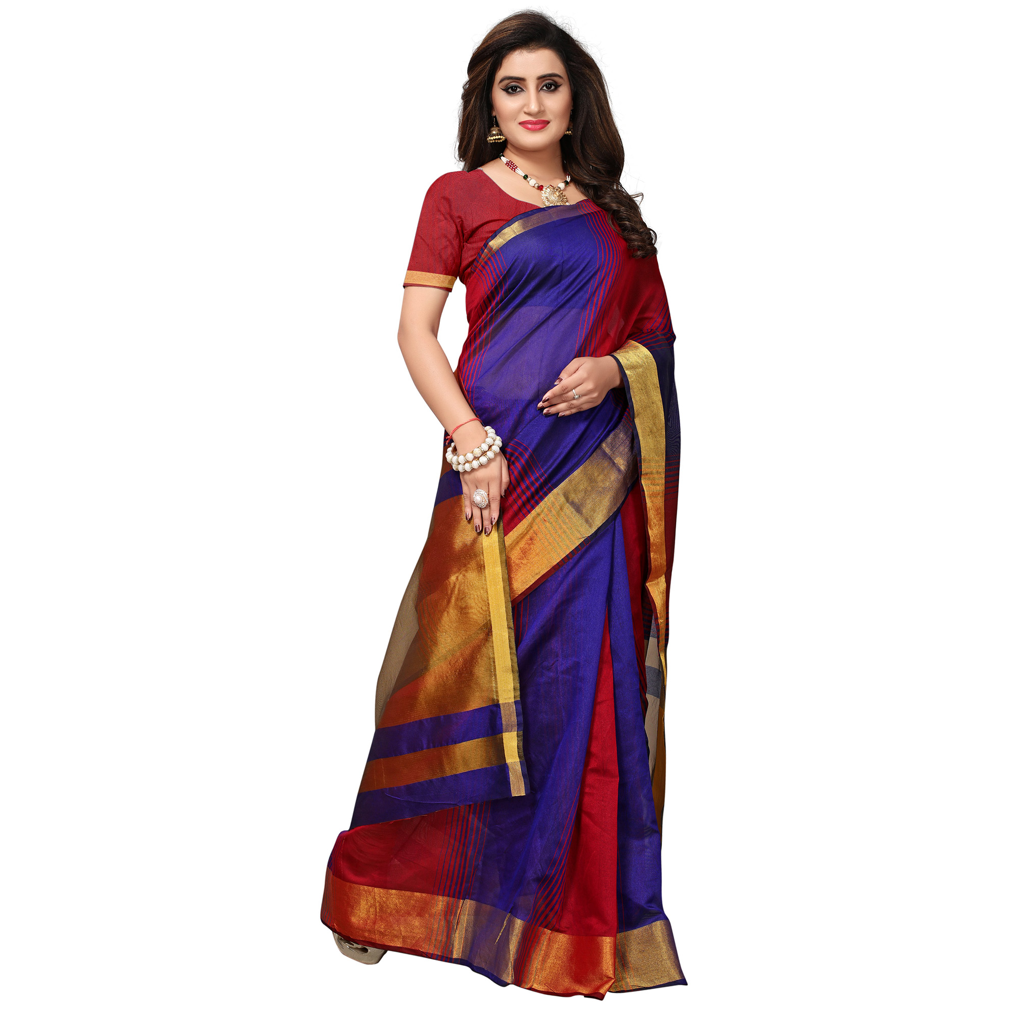 Mesmeric Red-Purple Colored Casual Printed Cotton Silk Saree