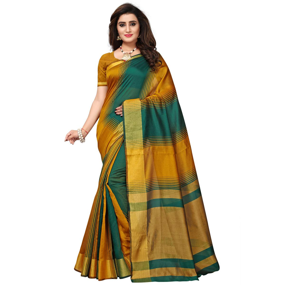 cb4a795a41 Buy Impressive Yellow-Green Colored Casual Printed Cotton Silk Saree for  womens online India, Best Prices, Reviews - Peachmode