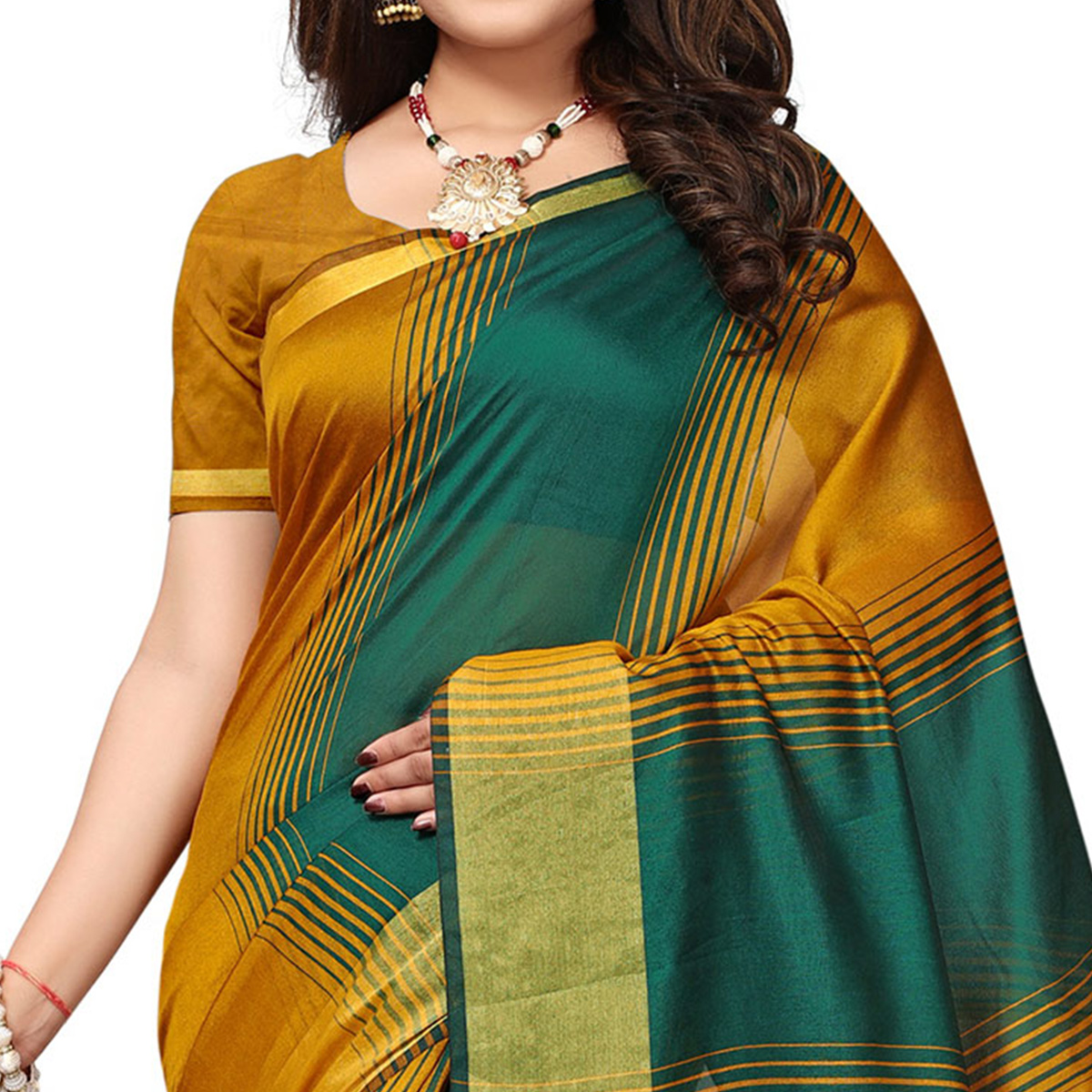 Impressive Yellow-Green Colored Casual Printed Cotton Silk Saree