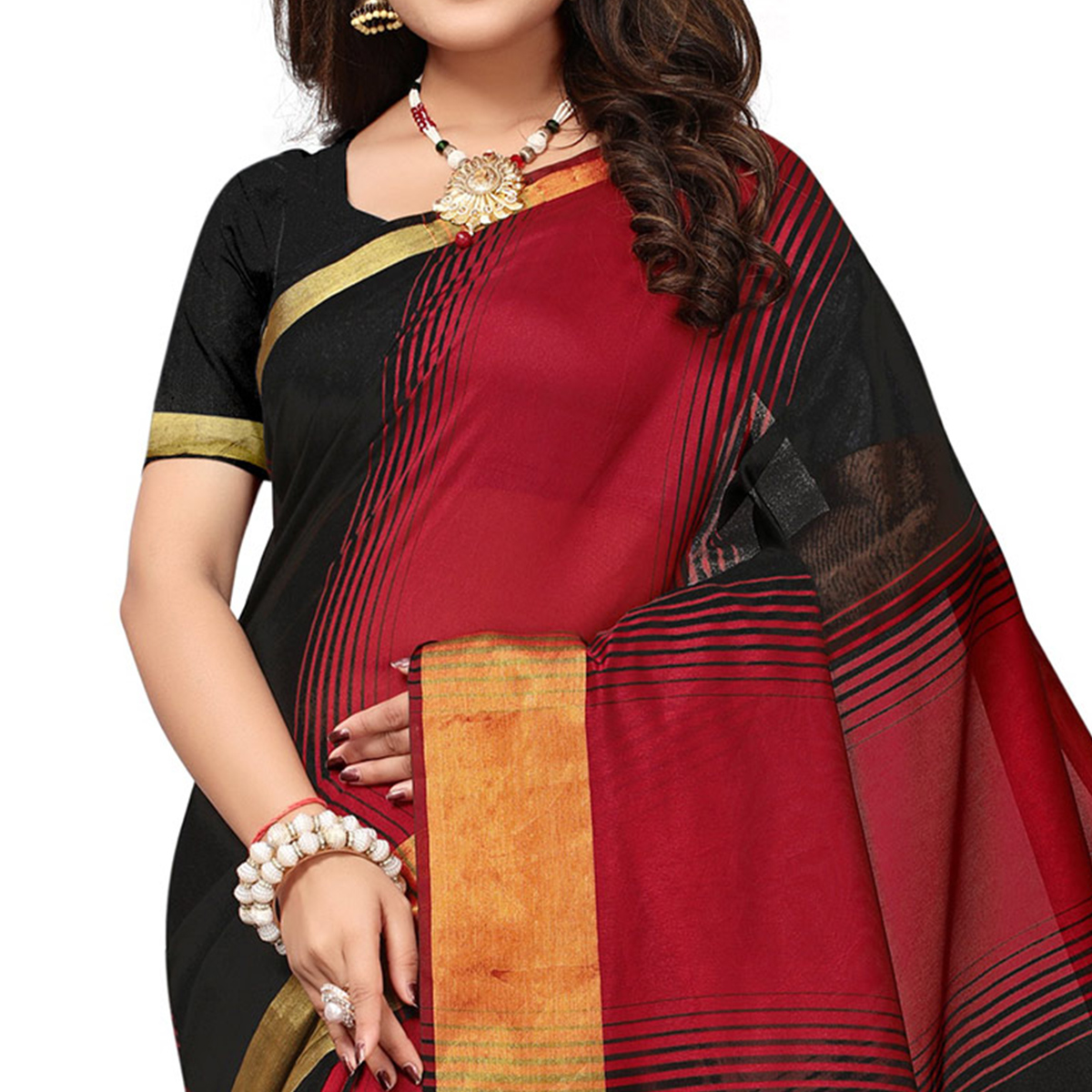 Mesmerising Red-Black Colored Casual Printed Cotton Silk Saree