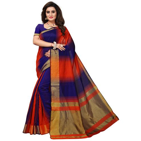 Unique Orange-Violet Colored Casual Printed Cotton Silk Saree