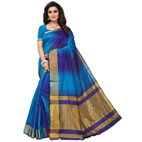 Opulent Blue Colored Casual Printed Cotton Silk Saree