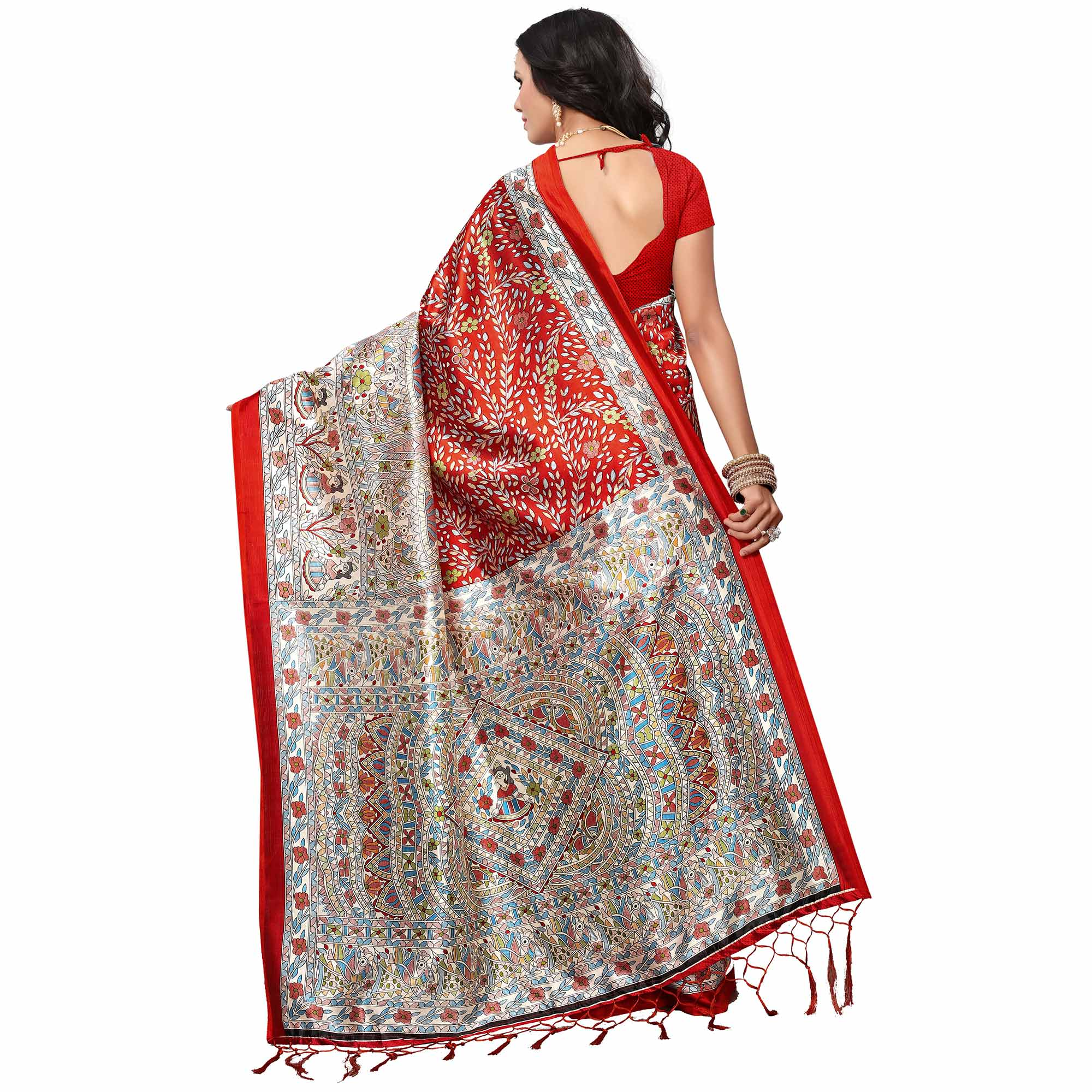 Impressive Red Colored Festive Wear Kalamkari Printed Khadi Silk Saree