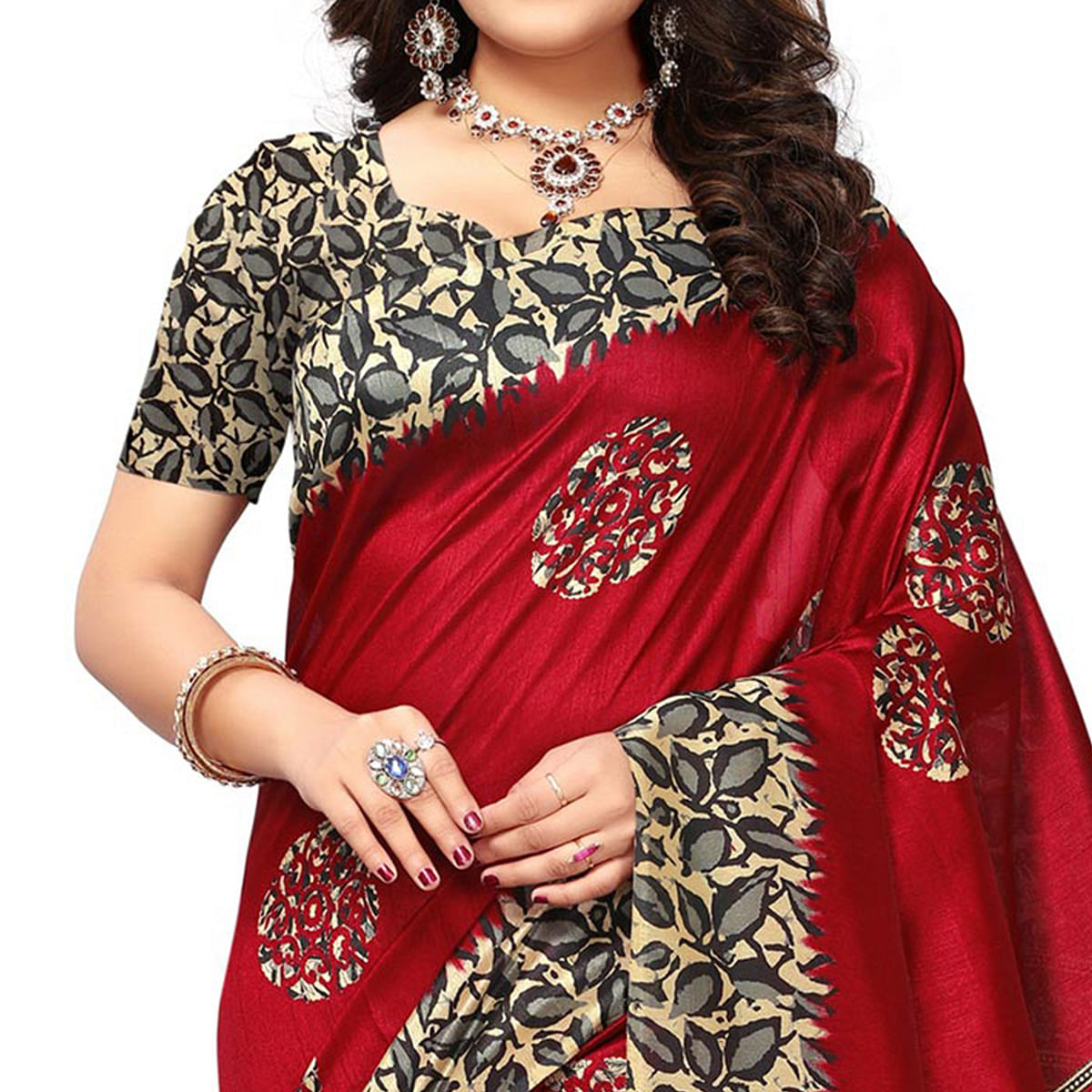 Demanding Red Colored Casual Printed Khadi Silk Saree