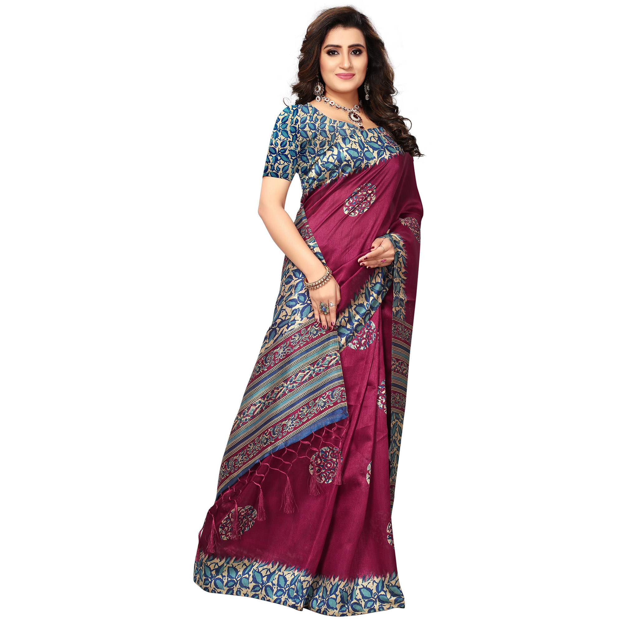 Charming Magenta Colored Casual Printed Khadi Silk Saree