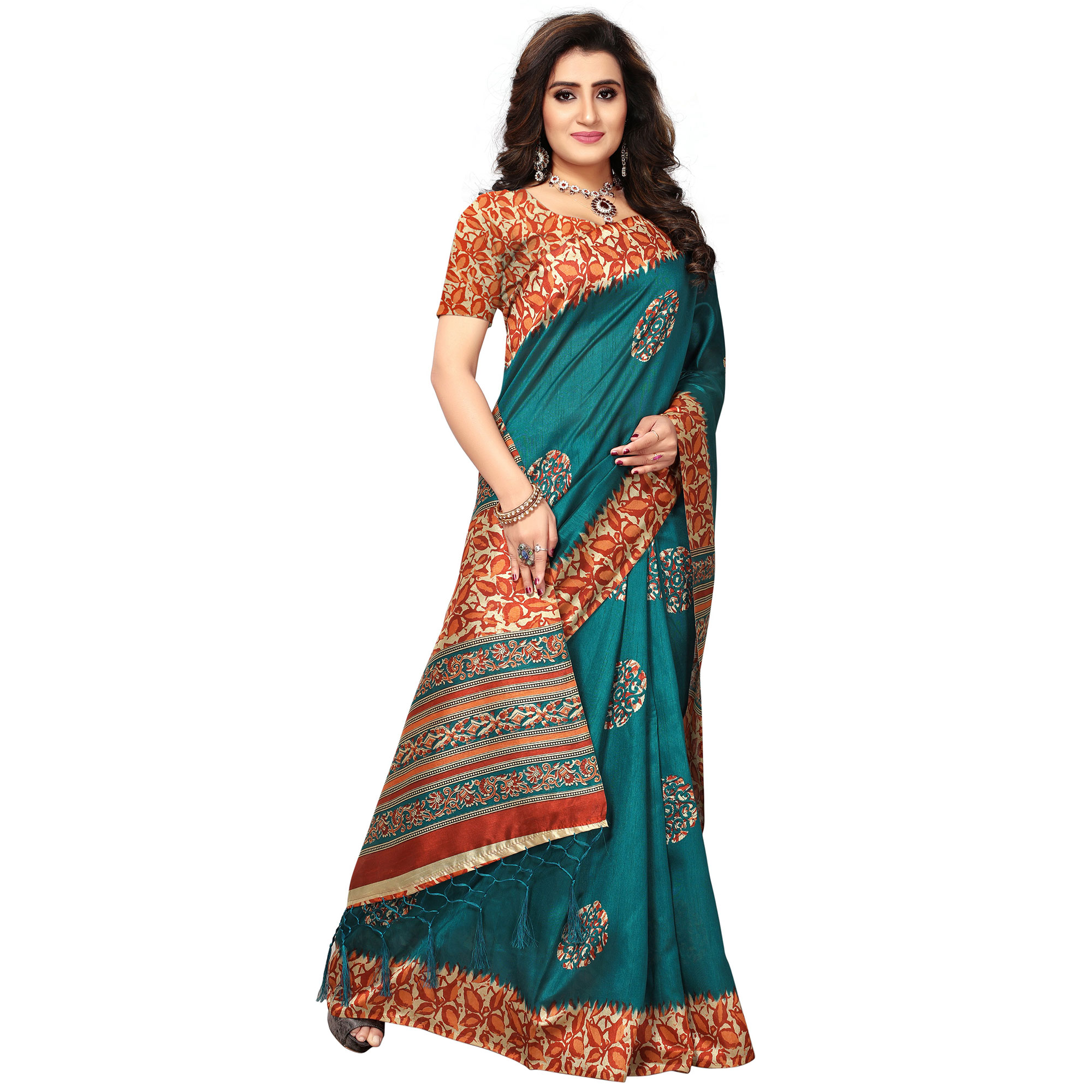 Exceptional Teal Blue Colored Casual Printed Khadi Silk Saree