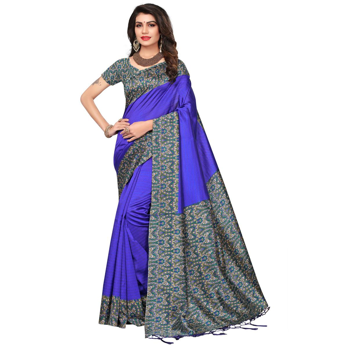 Eye Catching Blue Color Festive Wear Printed Mysore Art Silk Saree