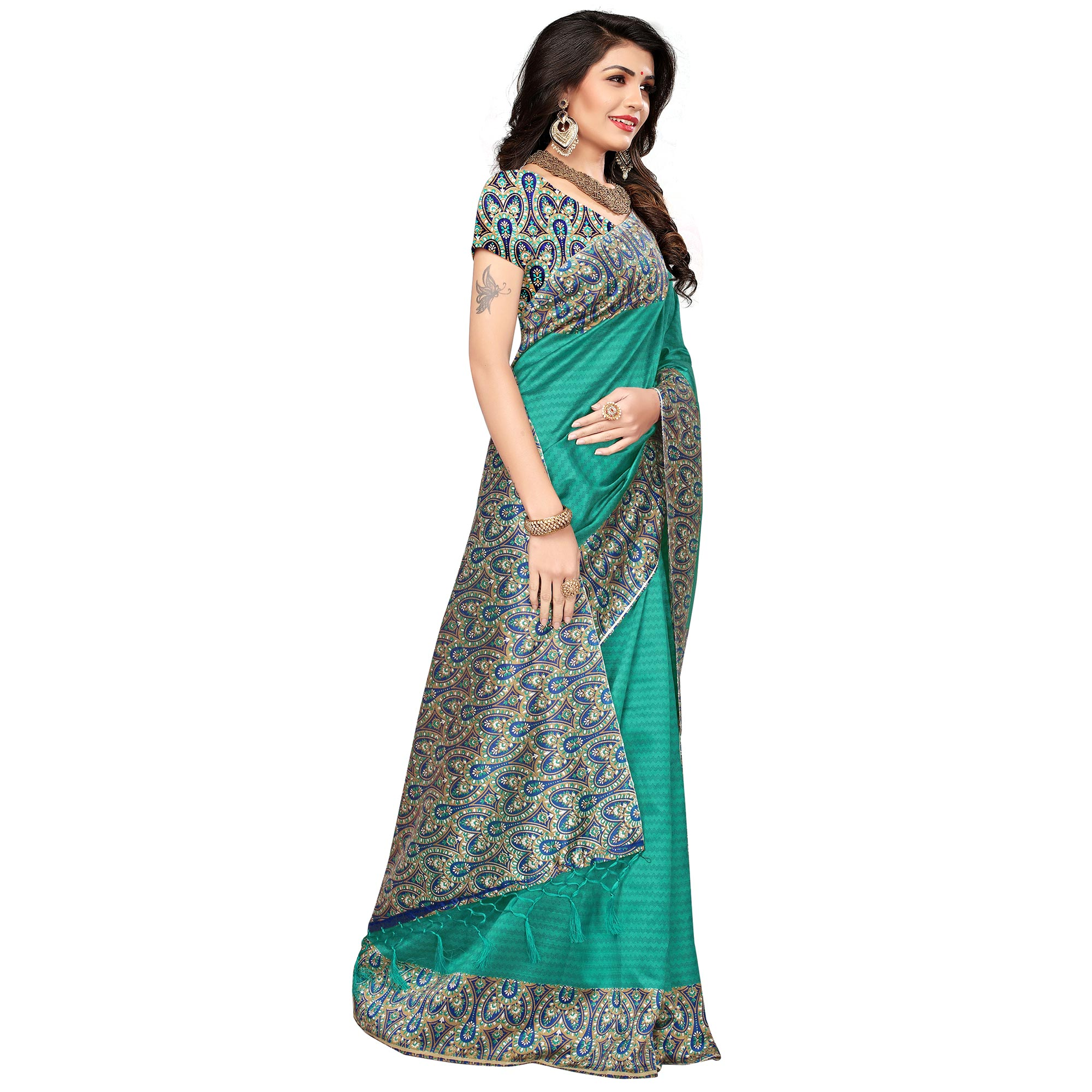 Ravishing Turquoise Green Colored Festive Wear Printed Mysore Art Silk Saree
