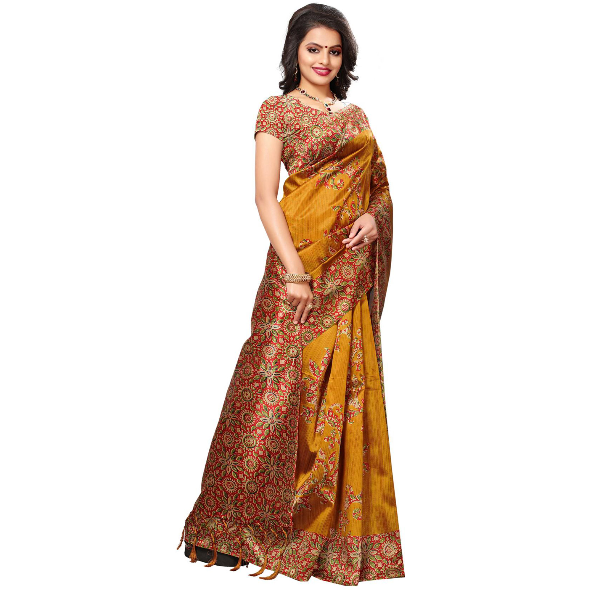 Graceful Yellow Color Festive Wear Printed Mysore Art Silk Saree