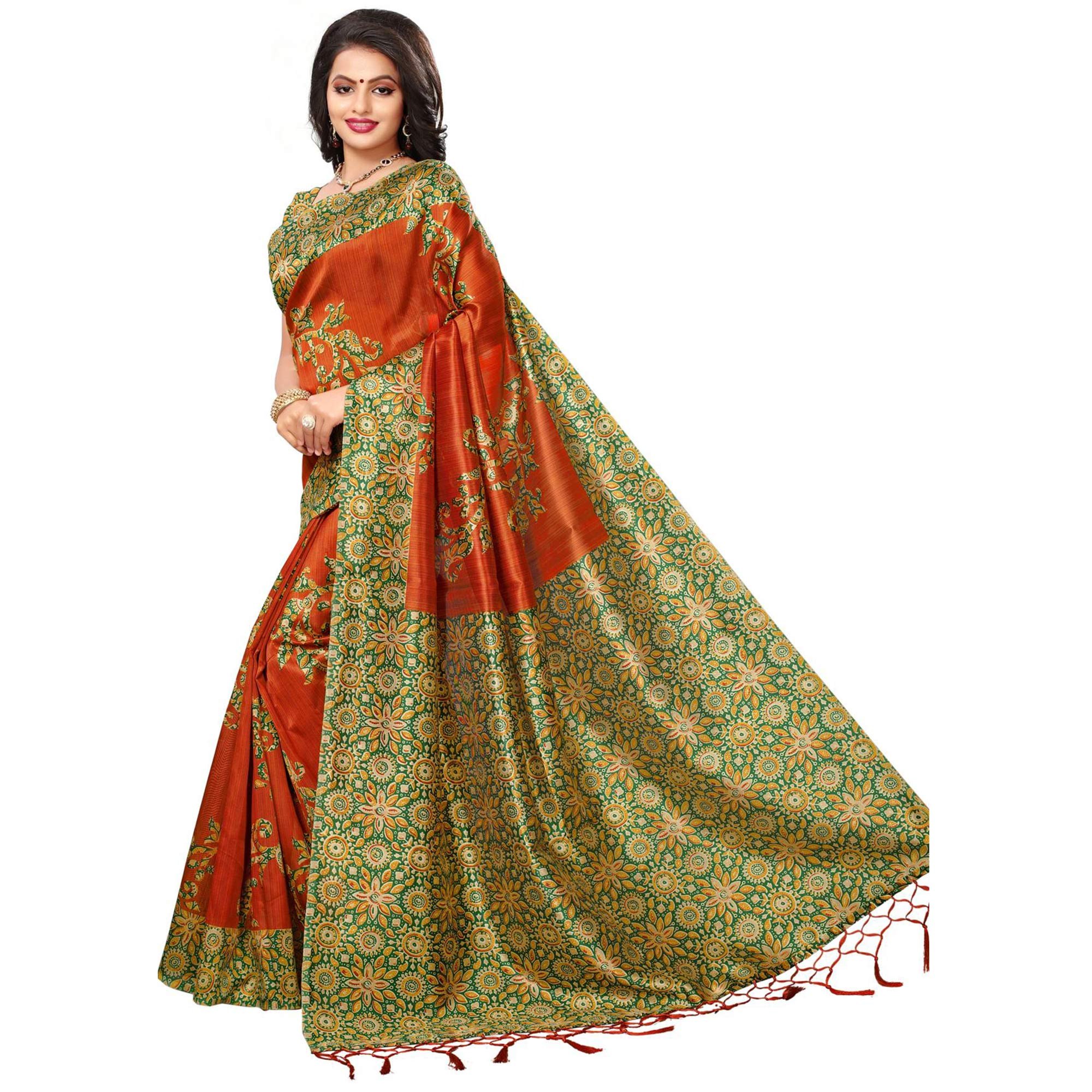 Flawless Orange Color Festive Wear Printed Mysore Art Silk Saree