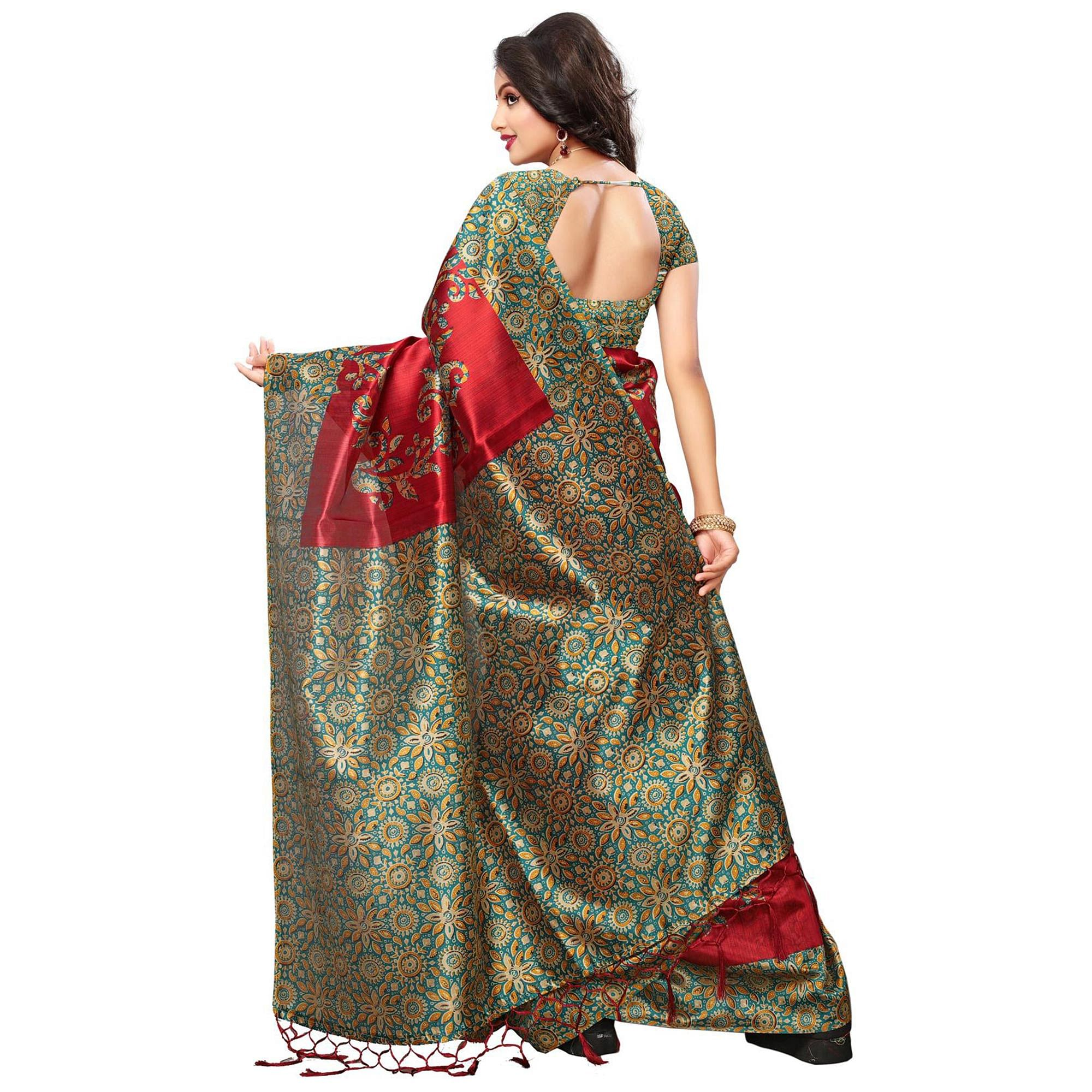 Blooming Red Colored Festive Wear Printed Mysore Art Silk Saree