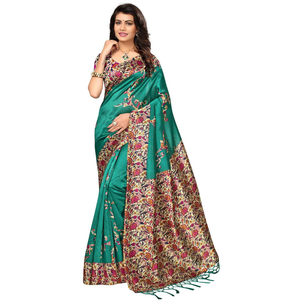 Classical Turquoise Green Colored Festive Wear Printed Mysore Art Silk Saree