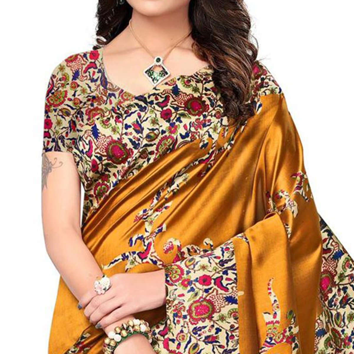 Entrancing Yellow Colored Festive Wear Printed Mysore Art Silk Saree